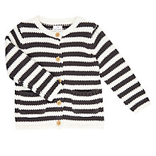 Buy John Lewis Baby Stripe Cardigan, Cream/Grey Online at johnlewis.com