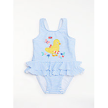 Buy John Lewis Baby Stripe Chick Swimsuit, Blue Online at johnlewis.com