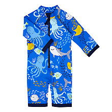 Buy John Lewis Baby Sea Friends SunPro Swimsuit, Blue Online at johnlewis.com