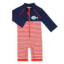 Buy John Lewis Baby Fish Stripe SunPro Swimsuit, Blue/Red Online at johnlewis.com