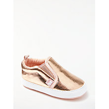 Buy John Lewis Baby Slip On Trainers, Gold Online at johnlewis.com