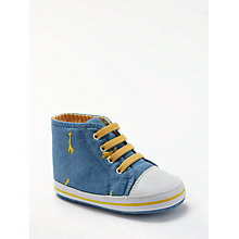 Buy John Lewis Baby Chambray Giraffe Trainers, Blue Online at johnlewis.com