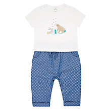 Buy John Lewis Baby Bear & Bunny T-Shirt & Trousers Set, White/Blue Online at johnlewis.com