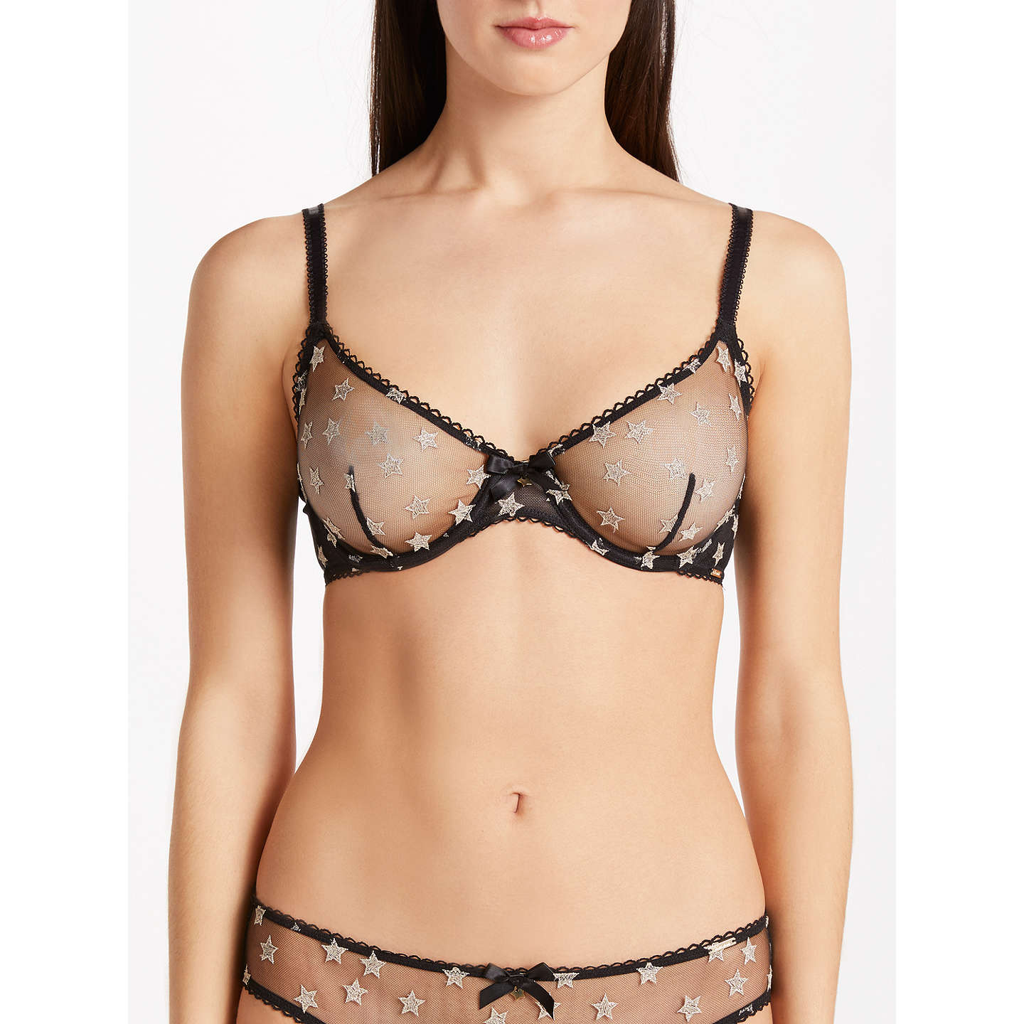 BuySomerset by Alice Temperley Sienna Star Unlined Balcony Bra, Black/Gold, 34B Online at johnlewis.com