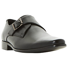 Buy Dune Pokerface Leather Monk Shoes, Black Online at johnlewis.com