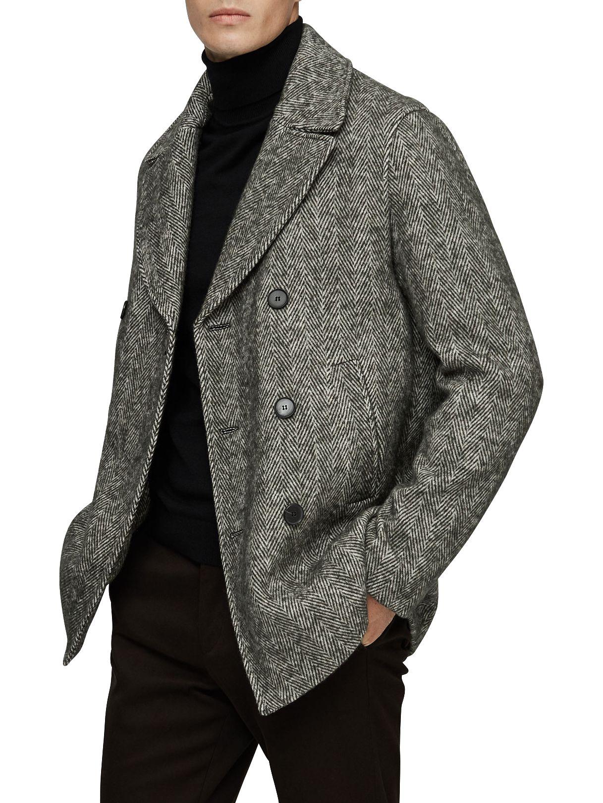 19ec703dfa9 Reiss Bogart Herringbone Pea Coat