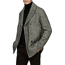 Buy Reiss Bogart Herringbone Pea Coat, Grey Online at johnlewis.com