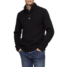 Buy Reiss Wayne Half Button Knit Jumper, Navy Online at johnlewis.com