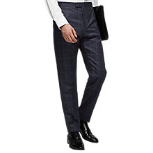 Buy Reiss Watson Super 120s Wool Overcheck Slim Fit Suit Trousers, Navy Online at johnlewis.com