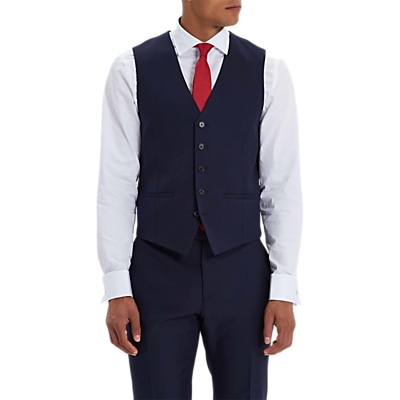 Jaeger Wool Twill Regular Fit Waistcoat, Navy