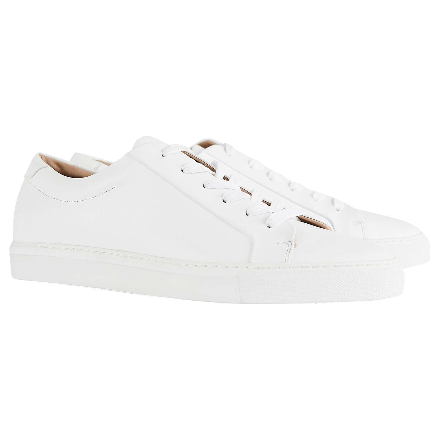 BuyReiss Darren Contrast Sole Leather Trainers, White, 7 Online at johnlewis.com
