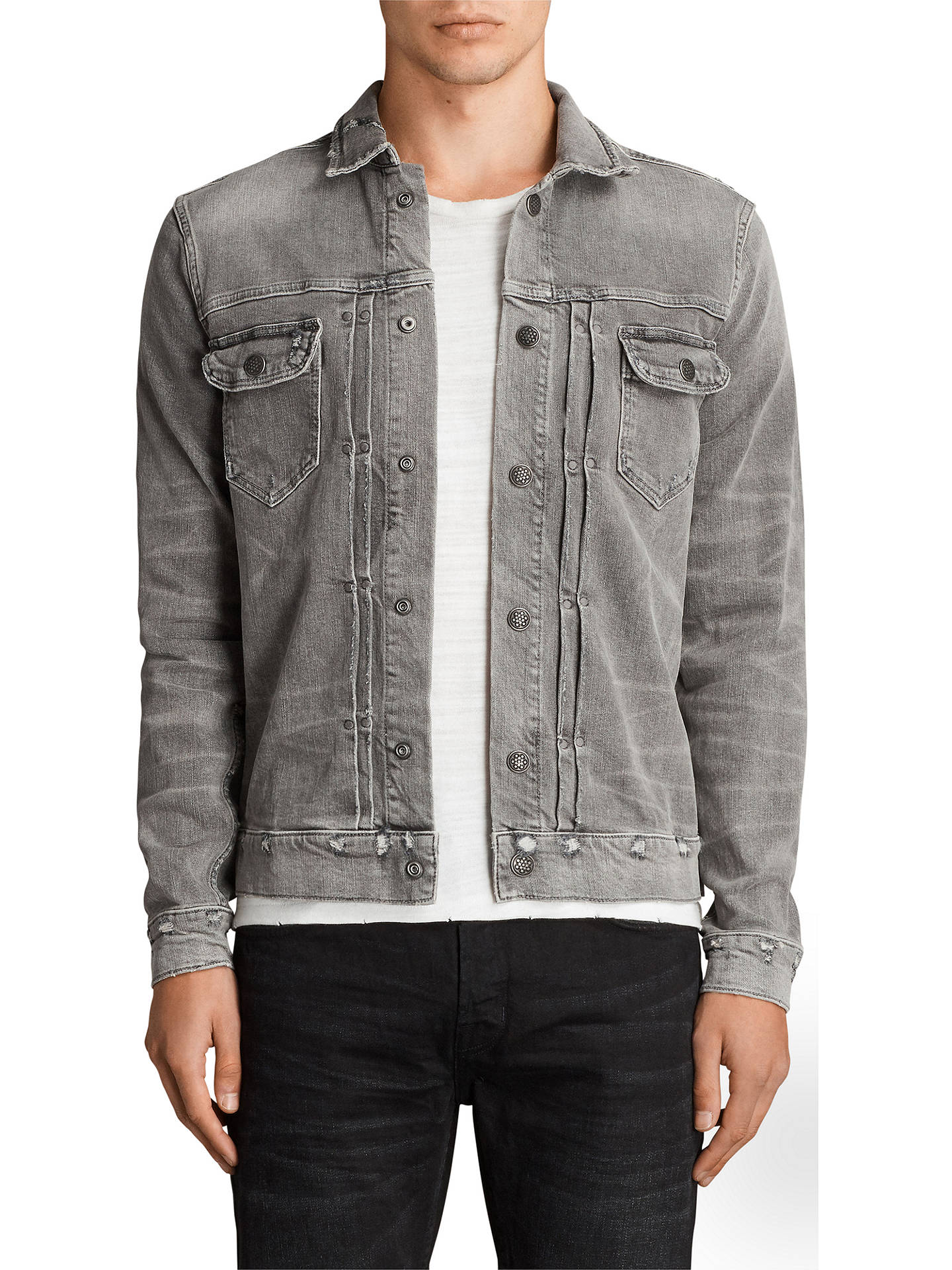 AllSaints Ginan Denim Jacket, Grey at John Lewis & Partners
