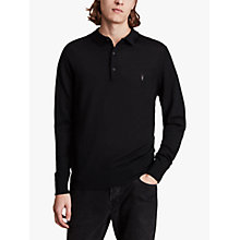 Buy AllSaints Mode Merino Polo Shirt, Black Online at johnlewis.com