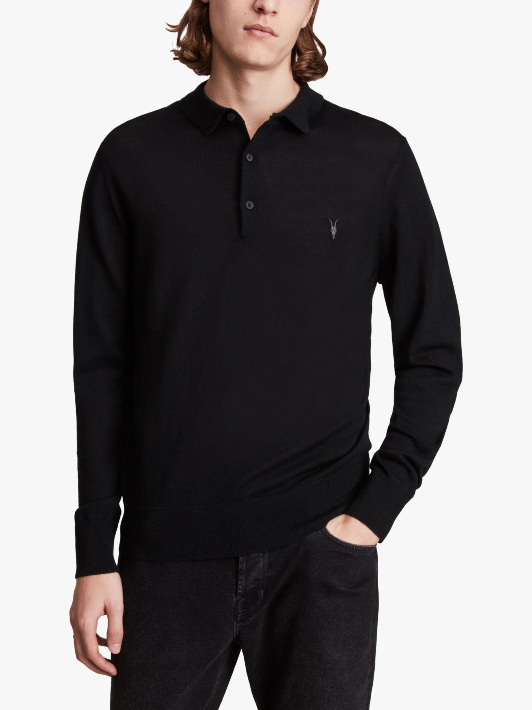 AllSaints AllSaints Mode Merino Slim Fit Polo Shirt