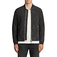 Buy AllSaints Kaigo Suede Bomber Jacket, Slate Blue Online at johnlewis.com