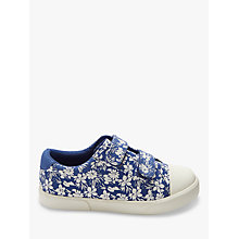 Buy John Lewis Children's Ellie Floral Rip-Tape Shoes, Blue Online at johnlewis.com