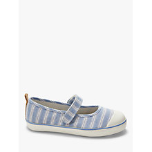 Buy John Lewis Children's Mary Jane Stripe Rip-Tape Pumps, Denim Online at johnlewis.com
