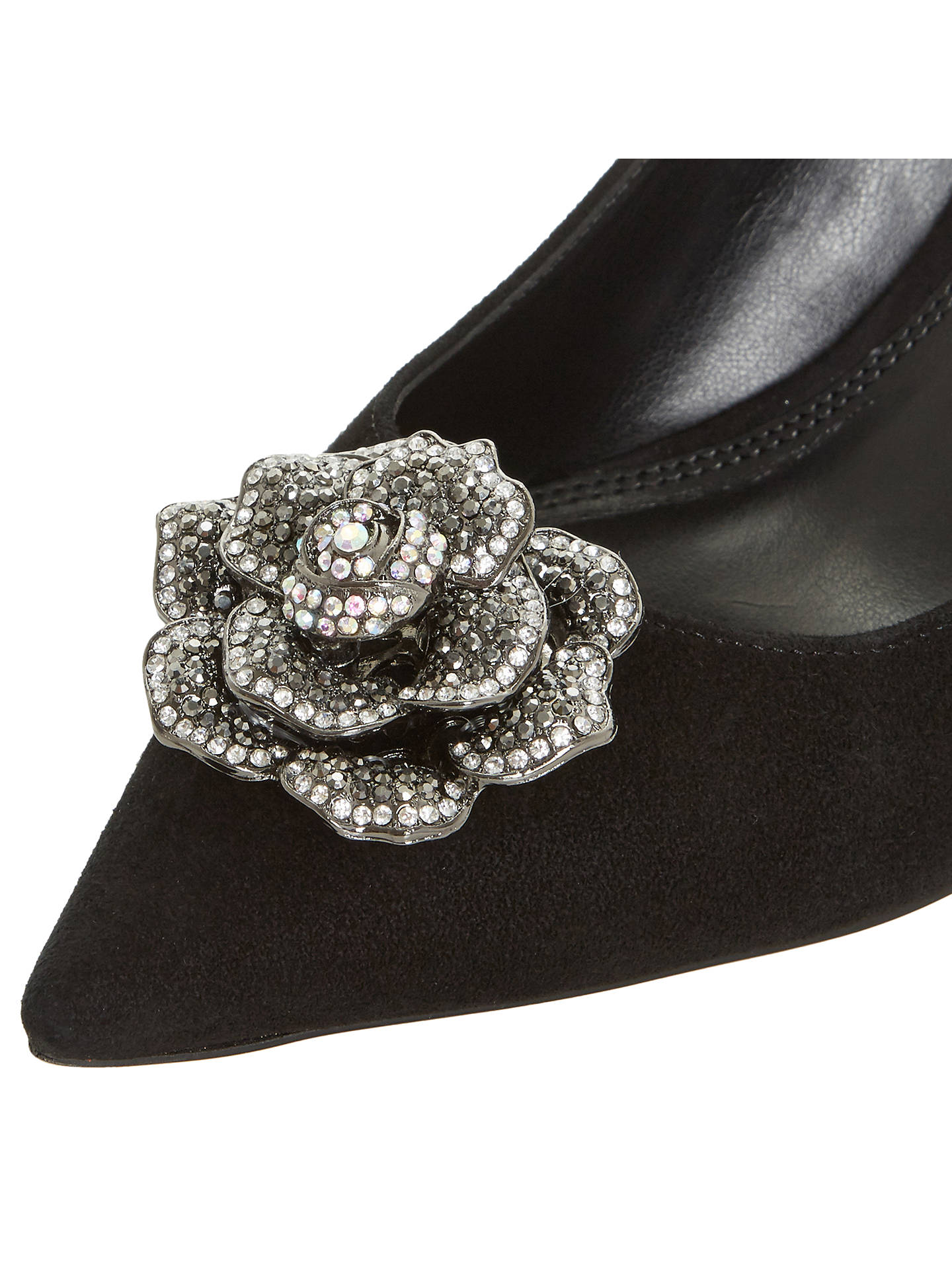 BuyDune Bergamot Jewelled Flower Court Shoes, Black, 3 Online at johnlewis.com