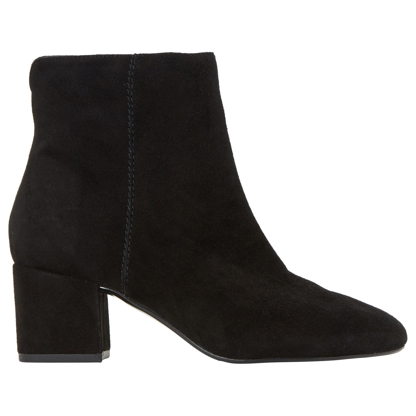 5a789567809 Dune Olyvea Block Heeled Ankle Boots, Black Suede at John Lewis ...