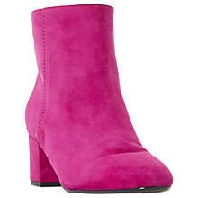 Buy Dune Olyvea Block Heeled Ankle Boots, Pink Suede Online at johnlewis.com