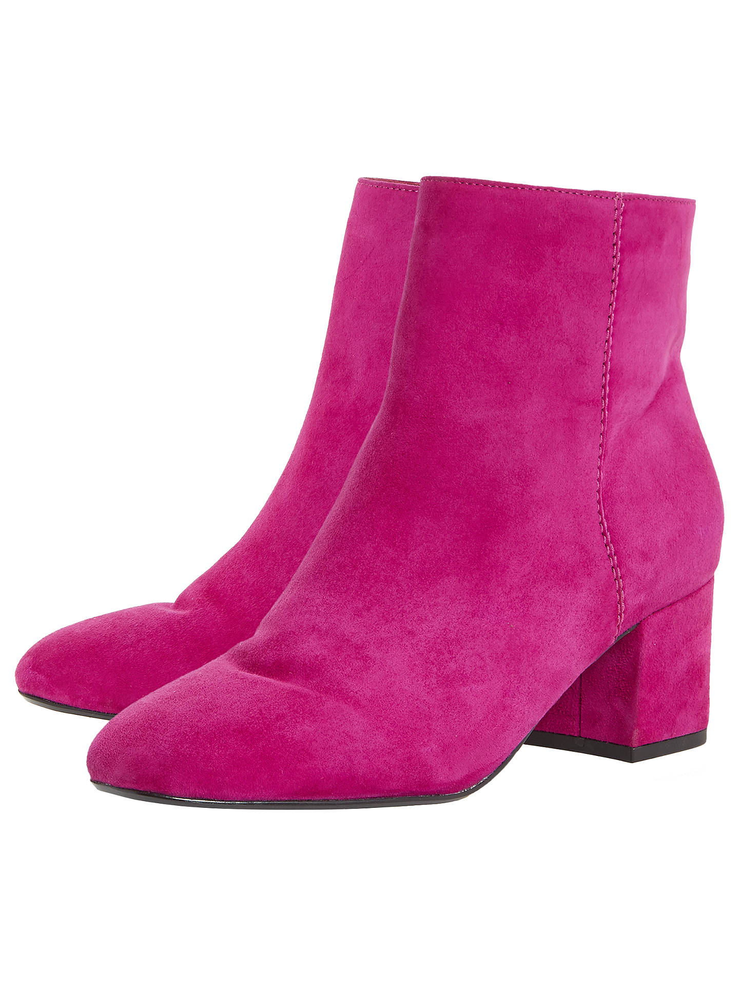 8e63a343136 Dune Olyvea Block Heeled Ankle Boots, Pink Suede at John Lewis ...