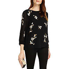 Buy Phase Eight Hina Embroidered Blouse, Black Online at johnlewis.com