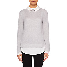 Buy Ted Baker Bronwen Scallop Collar Wool Silk Blend Jumper, Light Grey Online at johnlewis.com