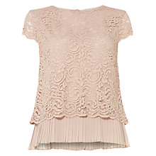 Buy Phase Eight Lexie Lace Blouse, Blush Online at johnlewis.com