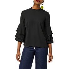 Buy Warehouse Tiered Sleeve Top, Black Online at johnlewis.com