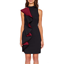 Buy Ted Baker Fleuh Contrast Ruffle Bodycon Dress, Black Online at johnlewis.com