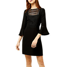 Buy Warehouse Lace Front Fluted Sleeve Dress, Black Online at johnlewis.com