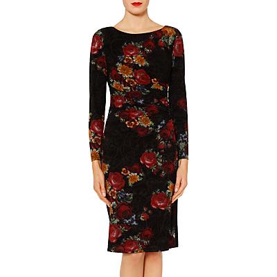 Gina Bacconi Antonia Floral Flock Dress, Black/Red