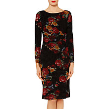 Buy Gina Bacconi Antonia Floral Flock Dress, Black/Red Online at johnlewis.com