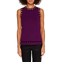 Buy Ted Baker Yuma Open Stitch Detail Knitted Top, Deep Purple Online at johnlewis.com