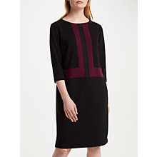 Buy Winser London Crepe Jersey Colour Block Shift Dress, Rich Berry/Black Online at johnlewis.com