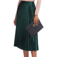 Buy Whistles Satin Pleated Skirt, Dark Green Online at johnlewis.com