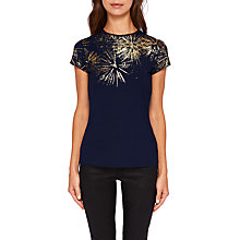 Buy Ted Baker Amranth Stardust Fitted T-Shirt, Dark Blue Online at johnlewis.com