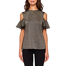 Buy Ted Baker Asuela Sparkle Cut Out Shoulder Top, Gold Online at johnlewis.com