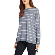 Buy Phase Eight Sinclaire Knitted Stripe Jumper, Grey Online at johnlewis.com