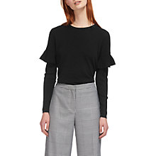 Buy Whistles Frill Shoulder Merino Wool Knitted Top, Black Online at johnlewis.com