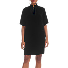Buy Whistles Tie Neck Silk Velvet Dress, Black Online at johnlewis.com