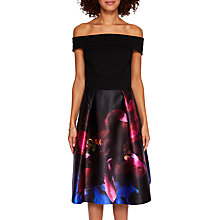 Buy Ted Baker Kimey Impressionist Bardot Dress, Black/Multi Online at johnlewis.com
