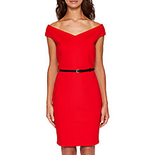Buy Ted Baker Brynia Off The Shoulder Bodycon Dress, Brick Red Online at johnlewis.com