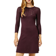 Buy Warehouse Pretty Stitch Yoke Knit Dress, Berry Online at johnlewis.com