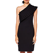 Buy Ted Baker Laylahi Pleated One Shoulder Dress, Black Online at johnlewis.com