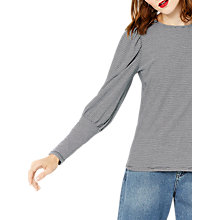 Buy Warehouse Striped Mutton Sleeve Top, Black Stripe Online at johnlewis.com