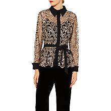 Buy Gina Bacconi Lisa Embroidered Long Sleeve Blouse, Black/Gold Online at johnlewis.com