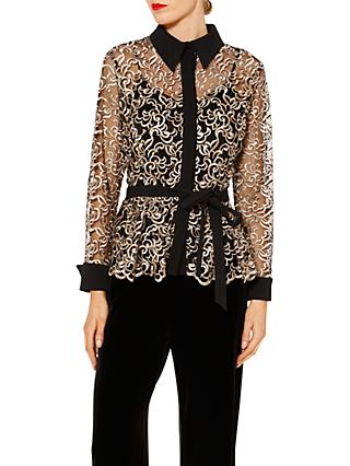 Gina Bacconi Lisa Embroidered Long Sleeve Blouse, Black/Gold