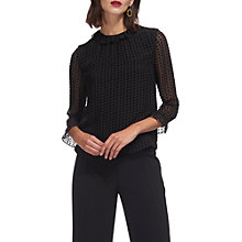 Buy Whistles Kimberly Velvet Dobby Top, Black Online at johnlewis.com