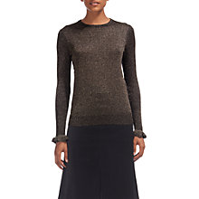 Buy Whistles Sparkle Frill Cuff Jumper, Pink Online at johnlewis.com